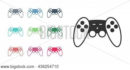 Black Gamepad Icon Isolated On White Background. Game Controller. Set Icons Colorful. Vector