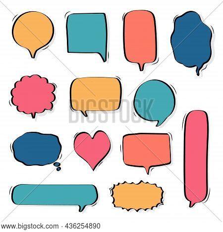 Collection Set Of Hand Drawing Frame Border, Blank Speech Bubble Balloon, Think, Speak, Talk, Text B
