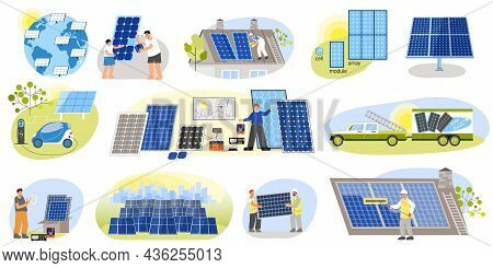 Solar Energy Set Of Flat Isolated Compositions With People Electric Vehicles House Roofs With Photov