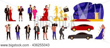 Film Awards And Celebrities Set With Ceremony Symbols Flat Isolated Vector Illustration