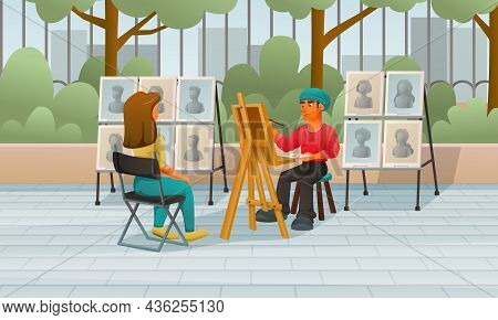 Street Performer Artist Musician Dancer Cartoon Composition With Public Park Scenery And Painter Dra