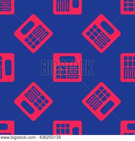 Red Train Station Board Icon Isolated Seamless Pattern On Blue Background. Mechanical Scoreboard. In