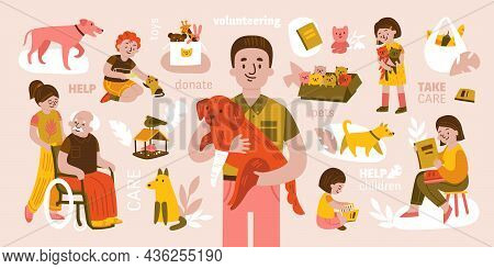 Volunteer Composition With Isolated Icons Of Pets Donation Goods And Elderly People With Young Volun