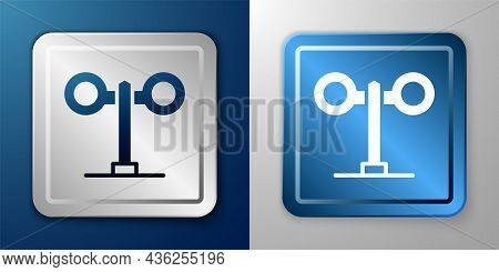 White Train Traffic Light Icon Isolated On Blue And Grey Background. Traffic Lights For The Railway