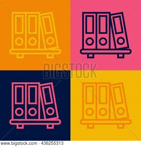 Pop Art Line Office Folders With Papers And Documents Icon Isolated On Color Background. Office Bind