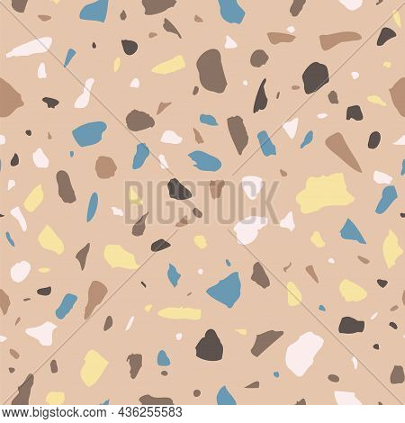 Vector Terrazzo Seamless Pattern. Abstract Color Italian Flooring Stone, Concrete Brown Texture. Cla