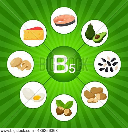 A Square Poster With Food Products Containing Vitamin B5. Pantothenic Acid. Medicine, Diet, Healthy
