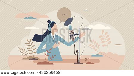 Voice Over Acting Performance Artist In Recording Studio Tiny Person Concept. Professional Speech Ta
