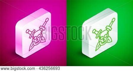 Isometric Line Crossed Medieval Sword With Skull Icon Isolated On Pink And Green Background. Medieva