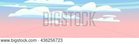 Morning Or Evening Sky Clouds Panorama. Illustration In Cartoon Style Flat Design. Heavenly Atmosphe