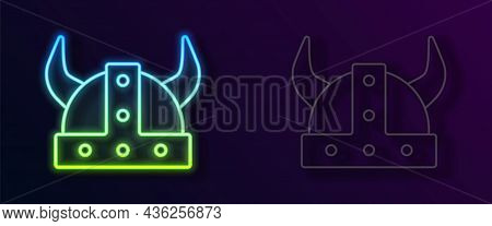 Glowing Neon Line Viking In Horned Helmet Icon Isolated On Black Background. Vector