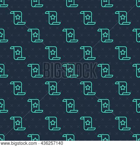 Green Line Paper Check And Financial Check Icon Isolated Seamless Pattern On Blue Background. Paper