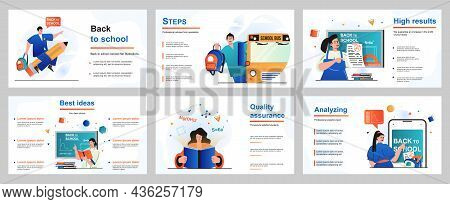 Back To School Concept For Presentation Slide Template. Pupils Go To Lessons, Schoolgirls And School