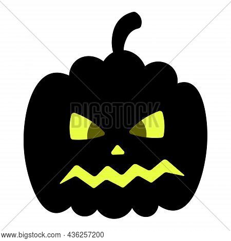 Pumpkin. Angry Facial Expression. Silhouette. Vector Illustration. Isolated White Background. Dark S