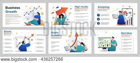 Business Growth Concept For Presentation Slide Template. Businessman And Businesswoman Analyze Finan