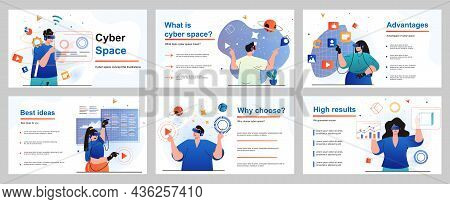 Cyberspace Concept For Presentation Slide Template. People Uses Virtual Reality Glasses, Gaming, Wor