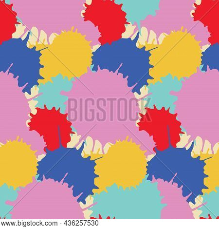 Multicolored Paint Spots Seamless Pattern, Chaos Rainbow Expression, Fantasy Art Abstract Pattern Ve