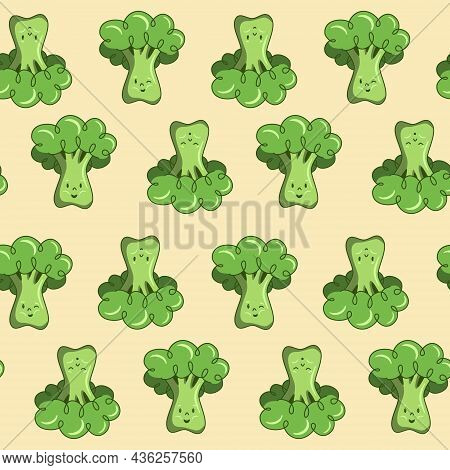 Seamless Pattern Cute Cartoon Character Broccoli Vegetable Green, Tiles For Decoration Textile Or Ch