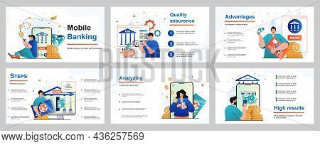 Mobile Banking Concept For Presentation Slide Template. People Pay For Purchases Or Bills, Make Fina