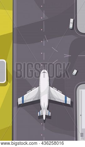 City Airport Terminal Outdoor Facility Element With Plane Moving Along Runway Top View Cartoon Vecto