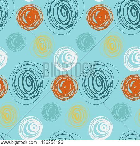 Cute Abstract Circle Seamless Pattern, Abstract Psychedelic Vector Illustration