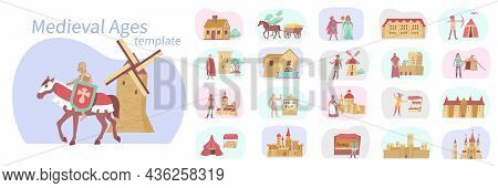 Medieval Compositions Flat Set Of Isolated Historical Buildings And Horse Carriages With Knight Char