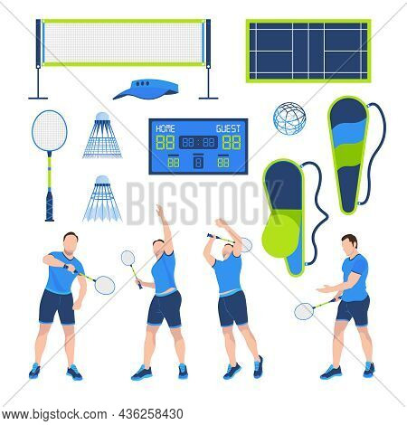 Badminton Flat Set With Male Player Shuttlecock Racket Scoreboard Net Court Ball Isolated Against Wh
