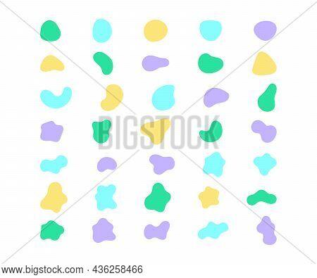 Organic Abstract Random Blob Color Shapes Minimal Design. Fluid Irregular Forms Elements. Liquid Blo