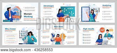 Web Design Concept For Presentation Slide Template. Female Occupations - Businesswoman, Teacher, Hai