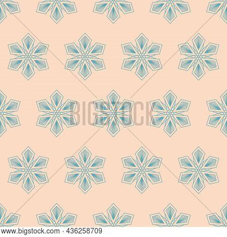 Snowflake Mandala Seamless Pattern, Geometric Snowflake Simple Design, Vector Illustration