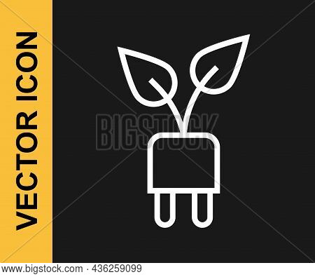White Line Electric Saving Plug In Leaf Icon Isolated On Black Background. Save Energy Electricity.