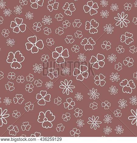 Seamless Pattern, Pastel Flower Brown Brick Matte, Simple Design Vector Illustration