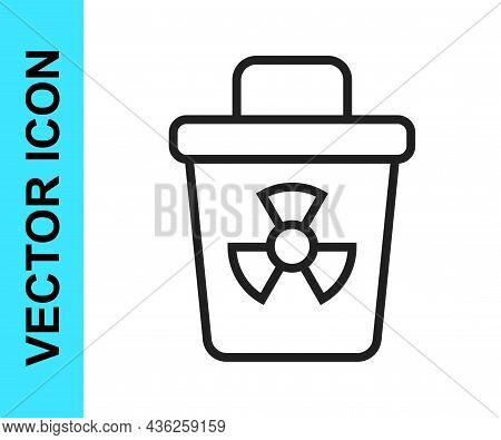 Black Line Infectious Waste Icon Isolated On White Background. Tank For Collecting Radioactive Waste