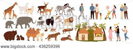 Zoo Icons Set With Animals And Visitors Flat Isolated Vector Illustration