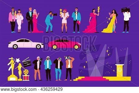 Film Awards And Celebrities Color Set With Prize Symbols Flat Isolated Vector Illustration