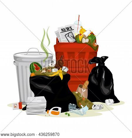 Trash Garbage Composition With Isolated Image Of Fulfilled Bins With Mixed Garbage Paper And Organic