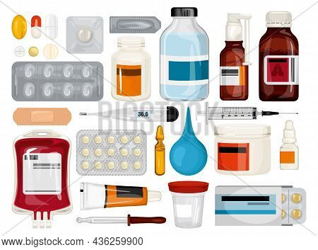 Healthcare Medications Set Of Isolated Icons With Syrup Bottles Pills Thermometers With Pipette And