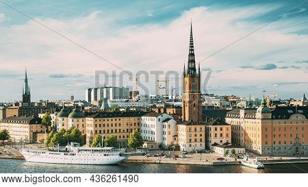 Stockholm, Sweden. Gamla Stan Is Famous Popular Place And Destination Scenic. Riddarholm Church In S