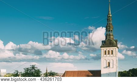Tallinn, Estonia, Europe. Old Town Cityscape In Sunny Summer Evening. Popular Place With Famous Land