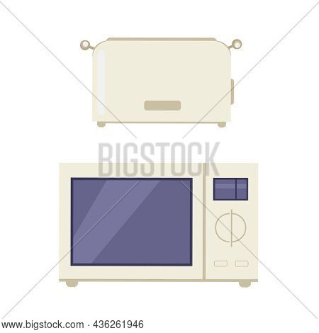 Flat Home Appliance Icon With Toaster And Microwave Oven On White Background Isolated Vector Illustr
