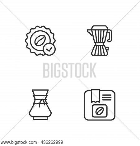 Set Line Bag Of Coffee Beans, Pour Over Maker, Medal For And Coffee Moca Pot Icon. Vector