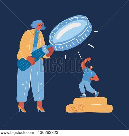 Vector Illustration Of Businesswoman Holding A Big Magnifier Glass And Search For Staff. Recruitment