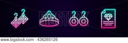 Set Line Earrings, King Crown, And Certificate Of The Diamond. Glowing Neon Icon. Vector