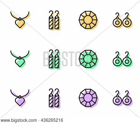 Set Line Diamond, Necklace With Heart Shaped, Earrings And Icon. Vector