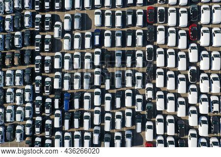 Aerial View From Drone To Automobile Customs Terminal. Large Number Of Cars At Customs Terminal Are
