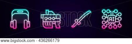 Set Line Headphones, Futuristic Weapon, Katana And Neural Network. Glowing Neon Icon. Vector