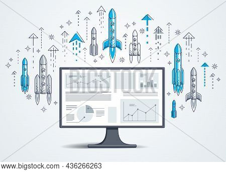 Startup Rockets Take Off Over Computer Monitor, Space Rockets Flying Start Up Internet Business Conc