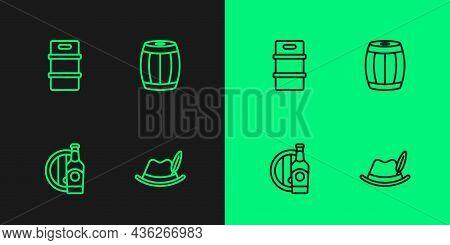 Set Line Oktoberfest Hat, Beer Bottle And Wooden Barrel, Metal Beer Keg And Wooden Icon. Vector