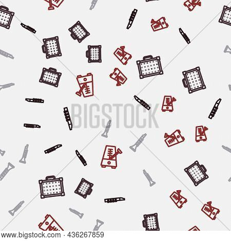 Set Line Flute, Guitar Amplifier, Clarinet And Metronome With Pendulum On Seamless Pattern. Vector