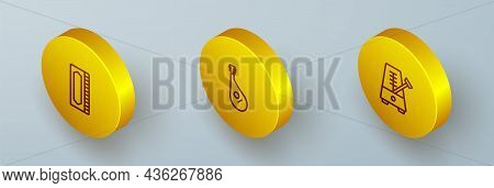 Set Isometric Line Harmonica, Bandura And Metronome With Pendulum Icon. Vector